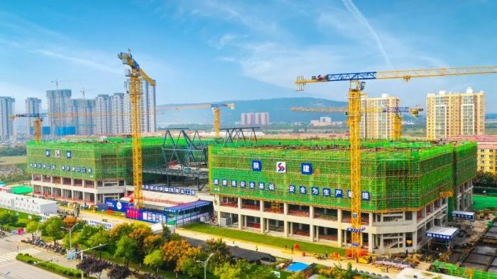 2020年宝鸡市文明工地暨扬尘治理观摩现场会在陕建宝鸡(国际)技能实训中心项目成功举行